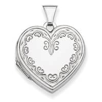 Versil Sterling Silver Etched Border Heart Locket with 18-inch Chain