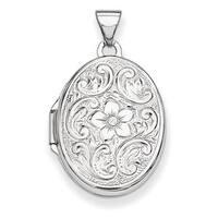 Versil Sterling Silver Oval Floral Locket