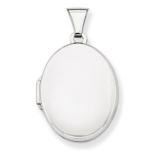 Versil Sterling Silver Polished 21mm 2-frame Oval Locket with 18-inch Chain