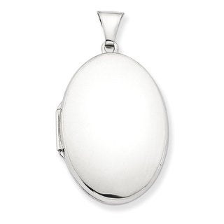 Versil Sterling Silver Polished 32mm 2-frame Oval Locket with 18-inch Chain