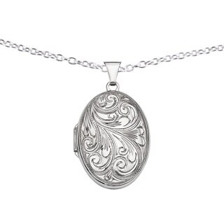 Versil Sterling Silver Scroll Oval Locket with 18-inch Chain