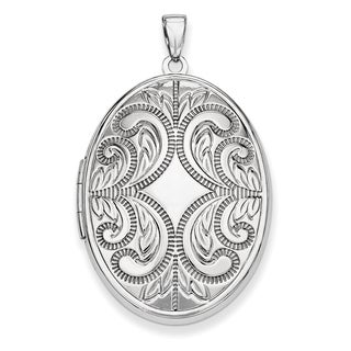 Versil Sterling Silver Oval Scroll Locket with 18-inch Chain