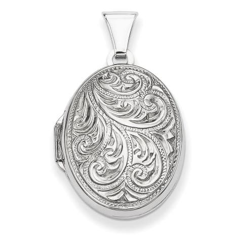 Sterling Silver Oval Locket with Detailed Etching by Versil