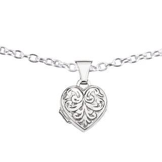 Versil Sterling Silver Scrolled Heart Locket