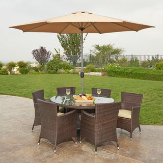 St. Maria 8-Piece All-Weather Wicker Dining Set Espresso Brown With Beige Umbrella and Pillows