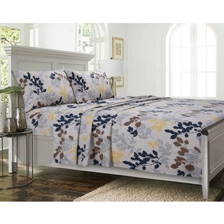 Barcelona Cotton Percale Leaf Printed Extra Deep Pocket Sheet Set with Oversize Flat or Pillowcase Separates