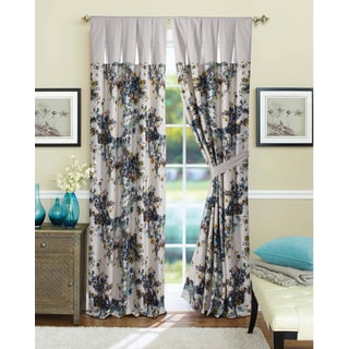 Tribeca Living Casablanca Lined Cotton Blue and White Curtain Panel Pair with Tiebacks