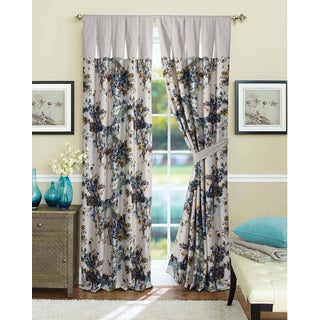 Casablanca Cotton Blue and White Curtain Panel Pair with Tiebacks