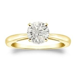 Auriya 18k Gold 1ct TDW Round-cut Diamond Solitaire Engagement Ring (J-K, I1-I2)