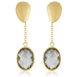 Collette Z Gold Overlay Genuine Smoky Quartz Drop Earrings
