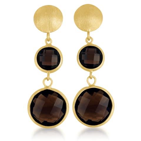 Collette Z Gold Overlay Genuine Dark Smoky Quartz Earrings