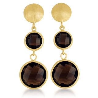 Collette Z Gold Overlay Genuine Dark Smoky Quartz Earrings