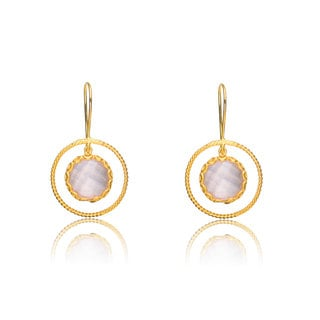 Collette Z Gold Overlay Genuine Stone Suspened Circle Earrings