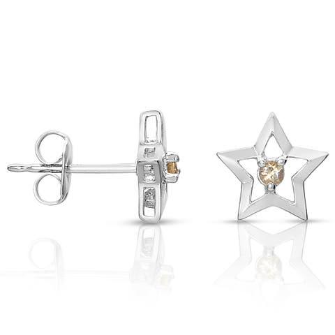 Collette Z Sterling Silver Genuine Citrion Star Knobs