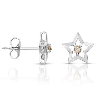 Collette Z Sterling Silver Genuine Citrion Star Knobs