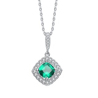 Collette Z Sterling Silver Genuine Emerald Cubic Zirconia Necklace