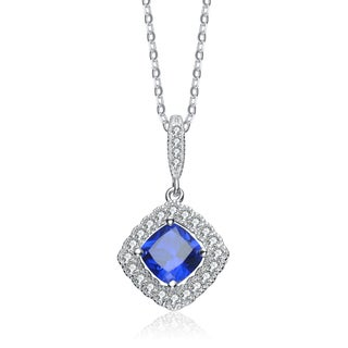Collette Z Sterling Silver Genuine Sapphire and Cubic Zirconia Necklace