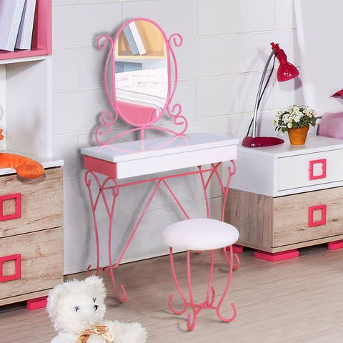Princess Fantasy Modern Pink 2-piece Vanity and Stool Set by FOA