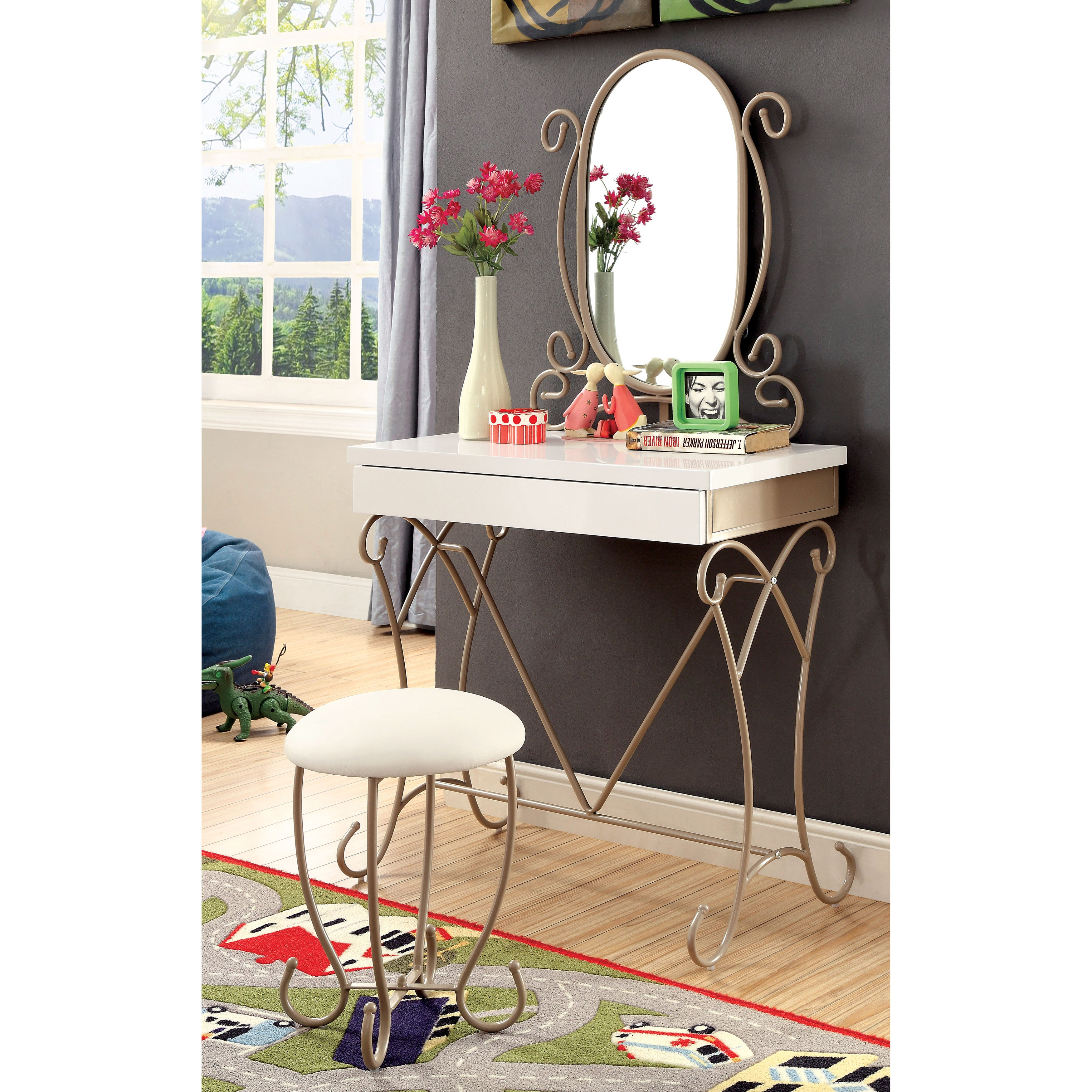 Furniture of America Princess Dream 2-piece Vanity with S...