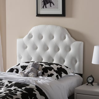 Baxton Studio Midas Modern and Contemporary Twin Size Faux Leather Upholstered Button-tufted Scalloped Headboard