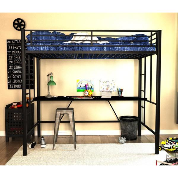 Shop DHP Twin Metal Loft Bed With Desk   Free Shipping Today   Overstock    11461139