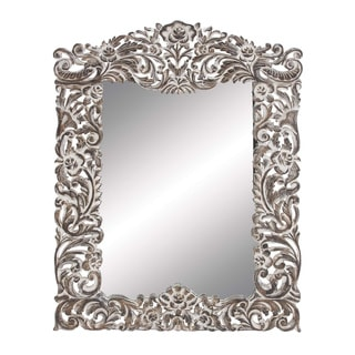 Transitional Wood Carved Mirror