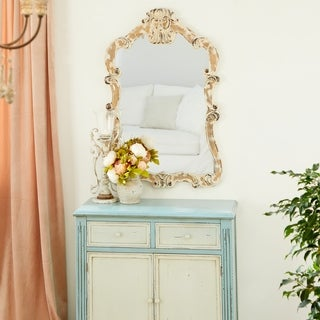 Aged Traditional Wood Wall Mirror