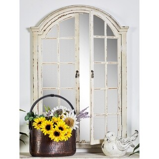 Farmhouse 45 x 31 Inch Wall Mirror with Arched Frame by Studio 350 - Antique White