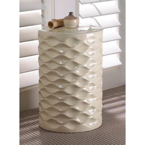Modern Geometric-Designed Ceramic Stool - Off-white