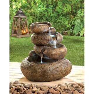 Four Teir Rock Shimmering Water Fountain