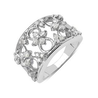 Olivia Leone Sterling Silver 3/4ct TDW White Diamond Ring