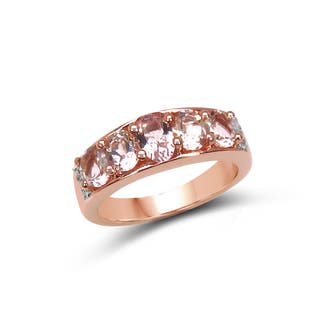 Olivia Leone 14k Rose Gold Plated Sterling Silver 1 3/5ct TGW Morganite and White Topaz Ring|https://ak1.ostkcdn.com/images/products/11461273/P18418644.jpg?impolicy=medium