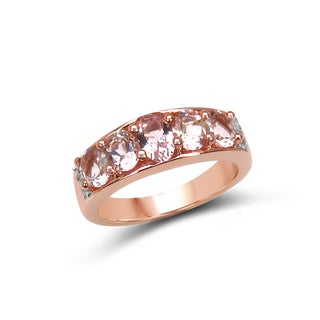 Olivia Leone 14k Rose Gold Plated Sterling Silver 1 3/5ct TGW Morganite and White Topaz Ring