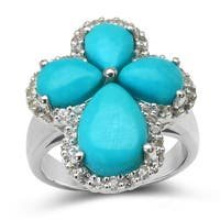 Malaika Sterling Silver 6 1/3ct TGW Turquoise and White Topaz Ring