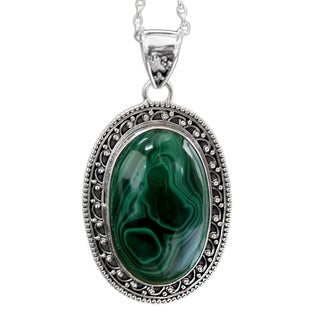Sterling Silver 'Forest Whirlwind' Malachite Necklace (India)