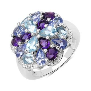 Olivia Leone Sterling Silver 3 1/2ct TGW Blue Topaz, Tanzanite and Amethyst Ring (3 options available)