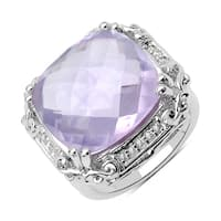 Olivia Leone Sterling Silver 13 7/8ct TGW Pink Amethyst and White Topaz Ring
