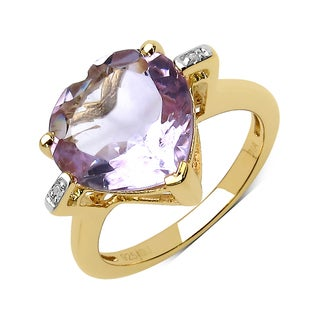 Malaika 14k Yellow Gold over Silver 5 1/4ct TGW Pink Amethyst and Topaz Ring