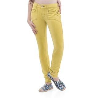 Army Pink Women's Green Sheen Slim Leg Denim Pants