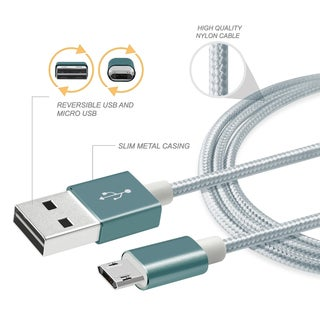 BasAcc Premium Grey/ Silver 3-feet Metal/ Nylon Reversible Micro USB Data Sync Charging Cable