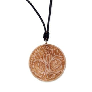 Handcrafted Leather Bone 'Sacred Tree' Necklace (Indonesia)