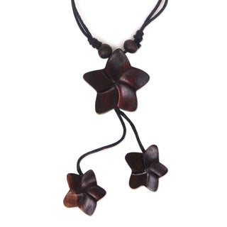 Handcrafted Sono Wood 'Stars for Hope' Necklace (Indonesia)