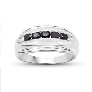 Malaika Sterling Silver 1/2ct TDW Black Diamond Ring