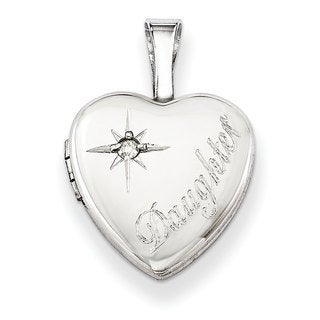 Versil Sterling Silver Diamond Accent Daughter 12mm Heart Locket