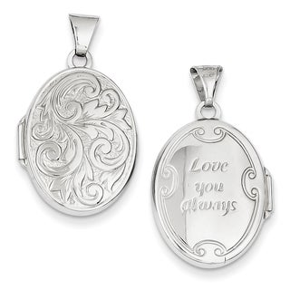 Versil 14k White Gold Polished Reversible 'Love You Always' Oval Locket with 18-inch Chain