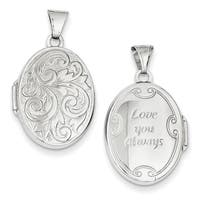 Versil 14 Karat WG 'Love You Always' Oval Locket with 18-inch Chain