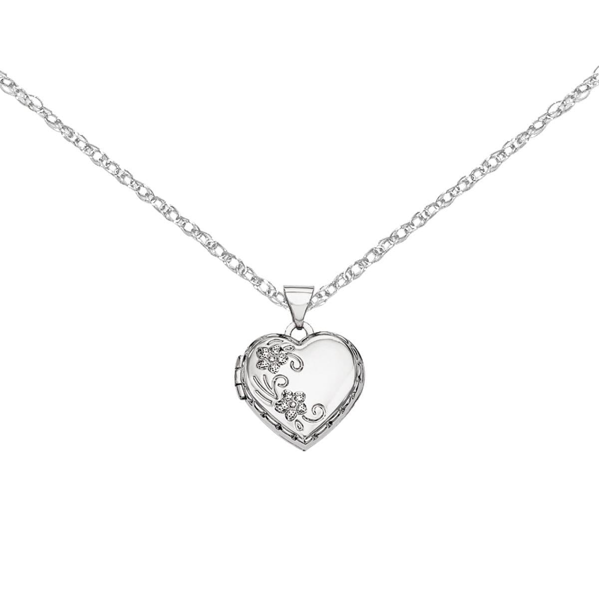 Versil 14k White Gold Polished Heart-shaped Reversible Fl...