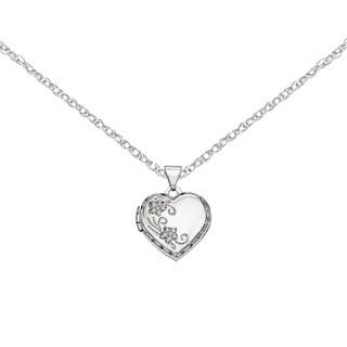Versil 14 Karat WG Polish Heart Reversible Floral Locket w/18'' Chain