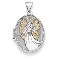 Versil Two-tone Sterling Silver Oval Guardian Angel Locket