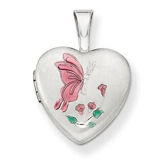 Versil Sterling Silver Enamel Butterfly Flowers 12mm Heart Locket
